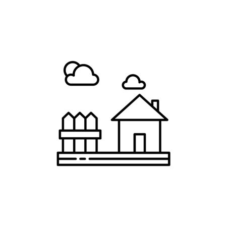 House, fences, nature outline icon. Element of landscapes illustration. Signs and symbols outline icon can be used for web,  mobile app, UI, UX 일러스트