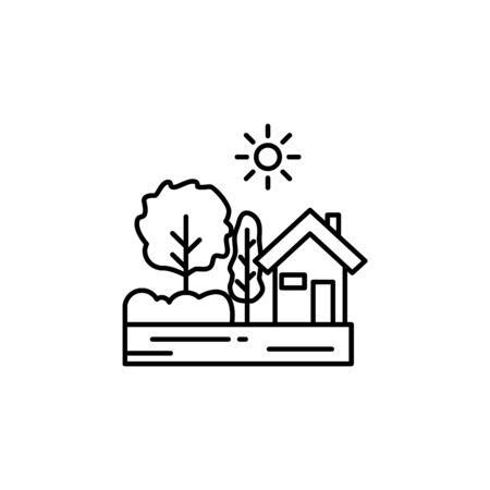 House, sunny tree outline icon. Element of landscapes illustration. Signs and symbols outline icon can be used for web, mobile app, UI, UX 스톡 콘텐츠 - 138094008