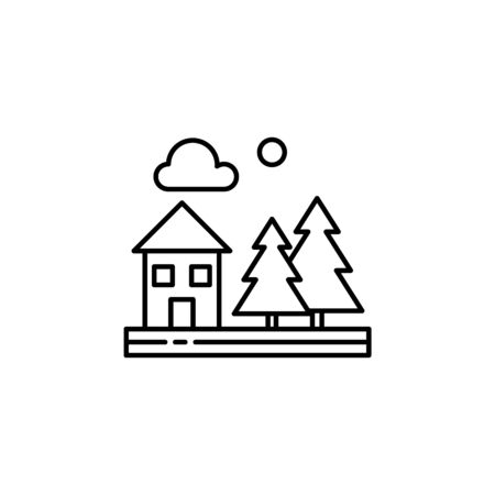 House, trees, nature, cloud outline icon. Element of landscapes illustration. Signs and symbols outline icon can be used for web, mobile app, UI, UX