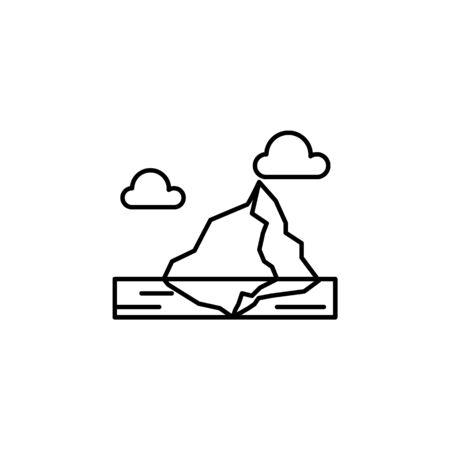 Iceberg, ice, ocean, clouds outline icon. Element of landscapes illustration. Signs and symbols outline icon can be used for web, mobile app, UI, UX