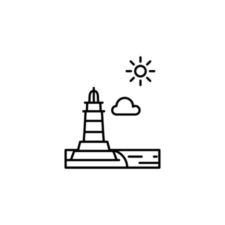 Lighthouse, sunny, cloud outline icon. Element of landscapes illustration. Signs and symbols outline icon can be used for web,  mobile app, UI, UX