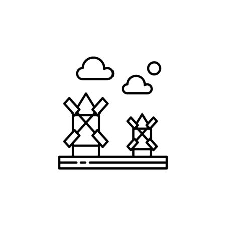 Mills, farming gardening, clouds outline icon. Element of landscapes illustration. Signs and symbols outline icon can be used for web,  mobile app, UI, UX
