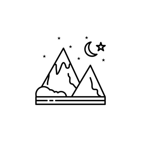 Mountain, night, starts, nature outline icon. Element of landscapes illustration. Signs and symbols outline icon can be used for web, mobile app, UI, UX 일러스트