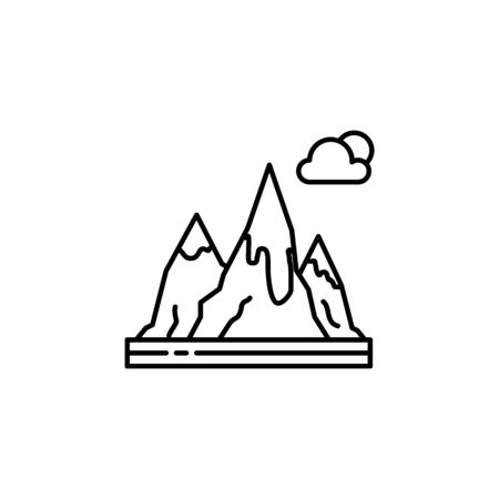 Mountain, sun, cloud outline icon. Element of landscapes illustration. Signs and symbols outline icon can be used for web,  mobile app, UI, UX 일러스트