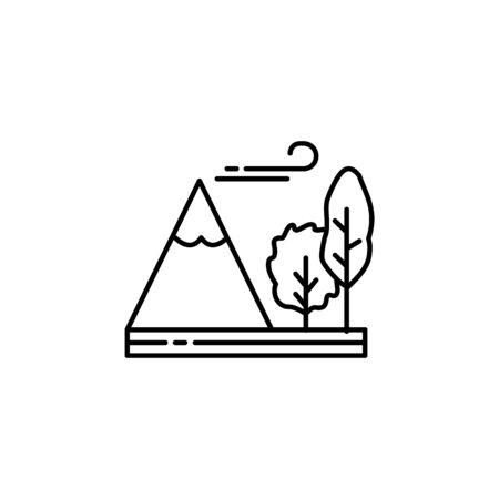 Mountain, tree, windy,  outline icon. Element of landscapes illustration. Signs and symbols outline icon can be used for web,  mobile app, UI, UX 일러스트