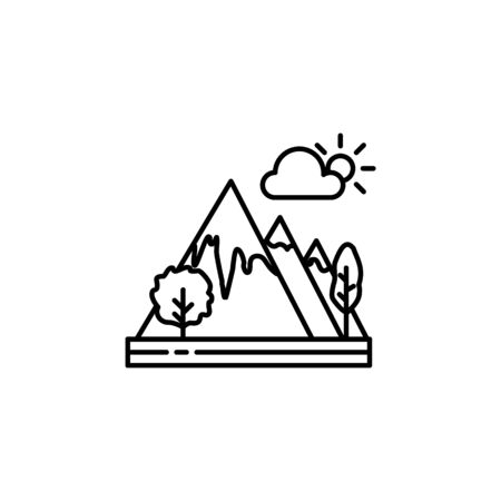 Mountains, cloud outline icon. Element of landscapes illustration. Signs and symbols outline icon can be used for web,  mobile app, UI, UX 일러스트