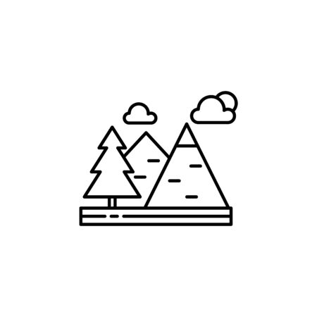 Mountains, clouds, trees outline icon. Element of landscapes illustration. Signs and symbols outline icon can be used for web, mobile app, UI, UX 일러스트