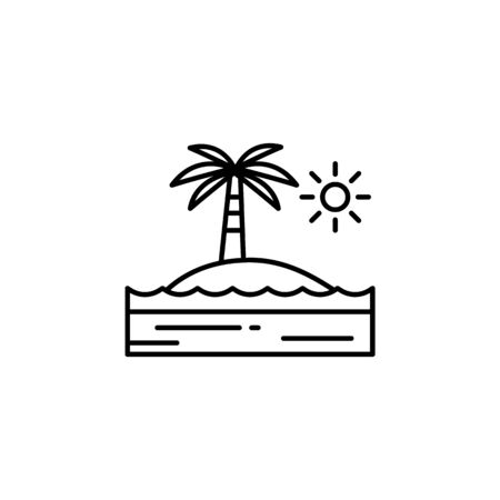 Palm tree, island, sunny, ocean outline icon. Element of landscapes illustration. Signs and symbols outline icon can be used for web, mobile app, UI, UX 일러스트