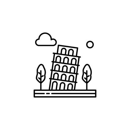 Pisa tower, trees, history, cloud outline icon. Element of landscapes illustration. Signs and symbols outline icon can be used for web,  mobile app, UI, UX
