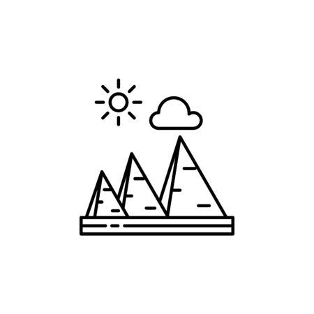 Pyramids, sunny, cloud outline icon. Element of landscapes illustration. Signs and symbols outline icon can be used for web,  mobile app, UI, UX 일러스트