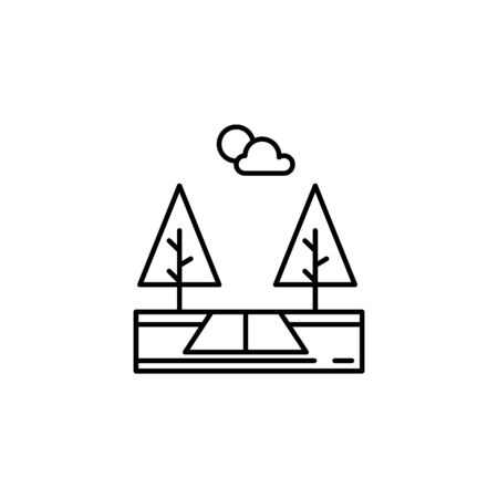Road, trees, ecology, forest outline icon. Element of landscapes illustration. Signs and symbols outline icon can be used for web,  mobile app, UI, UX