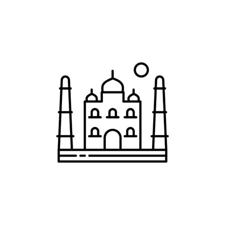 Taj mahal, Asia, India, Agra outline icon. Element of landscapes illustration. Signs and symbols outline icon can be used for web, mobile app, UI, UX 일러스트