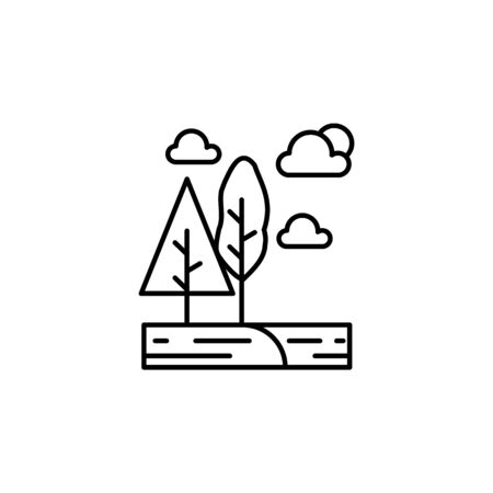 Trees, cloud, sun outline icon. Element of landscapes illustration. Signs and symbols outline icon can be used for web, mobile app, UI, UX