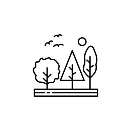 Trees, forest, nature, birds outline icon. Element of landscapes illustration. Signs and symbols outline icon can be used for web,  mobile app, UI, UX