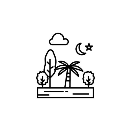 Trees, nature, forest, night, moon, stars outline icon. Element of landscapes illustration. Signs and symbols outline icon can be used for web, mobile app, UI, UX 일러스트