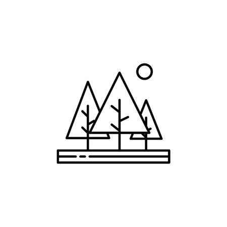 Trees, sun outline icon. Element of landscapes illustration. Signs and symbols outline icon can be used for web, mobile app, UI, UX