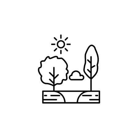 Trees, sunny, cloud, lake outline icon. Element of landscapes illustration. Signs and symbols outline icon can be used for web, mobile app, UI, UX