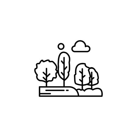 Trees, moon, cloud outline icon. Element of landscapes illustration. Signs and symbols outline icon can be used for web, mobile app, UI, UX