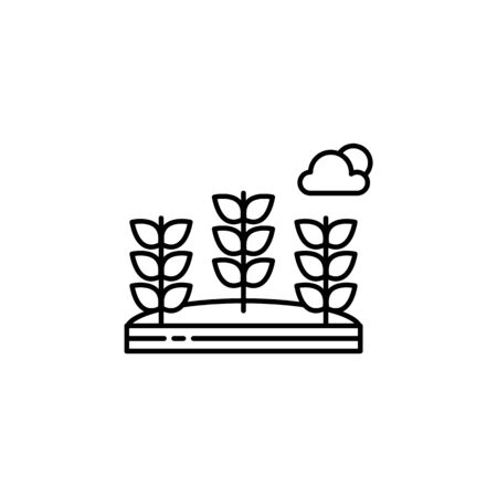Wheat, flowers, cloud outline icon. Element of landscapes illustration. Signs and symbols outline icon can be used for web,  mobile app, UI, UX