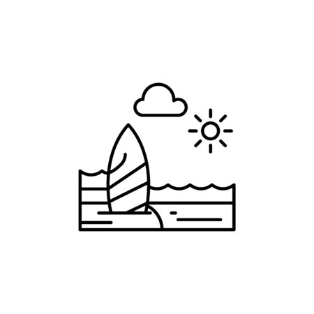 Beach, sunny, ocean, cloud outline icon. Element of landscapes illustration. Signs and symbols outline icon can be used for web, ,mobile app, UI, UX