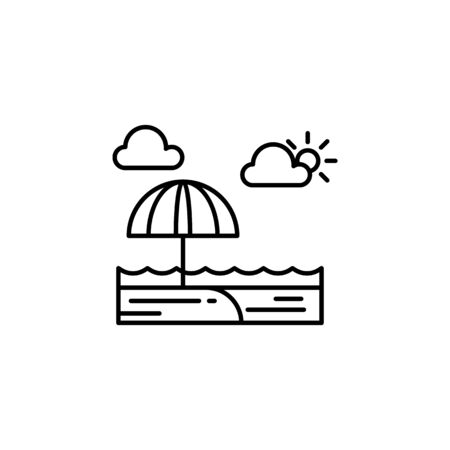 Beach, sunny, ocean, cloud outline icon. Element of landscapes illustration. Signs and symbols outline icon can be used for web,  mobile app, UI, UX 일러스트