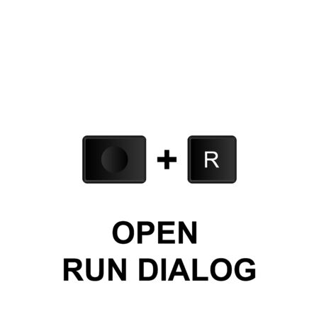 Keyboard shortcuts, open run dialog icon. Can be used for web,  mobile app, UI, UX on white background