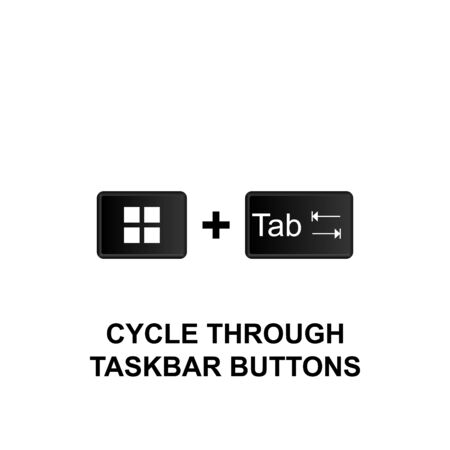 Keyboard shortcuts, cycle through taskbar buttons icon. Can be used for web, mobile app, UI, UX on white background