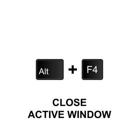Keyboard shortcuts, close active window icon. Can be used for web, mobile app, UI, UX on white background