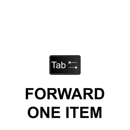 Keyboard shortcuts, forward one item icon. Can be used for web,  mobile app, UI, UX on white background