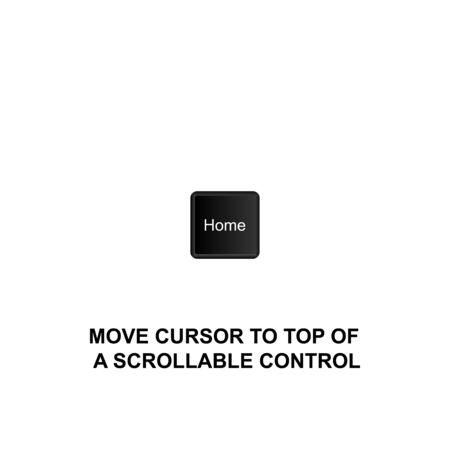 Keyboard shortcuts, move cursor to top of a scrollable control icon. Can be used for web,  mobile app, UI, UX on white background