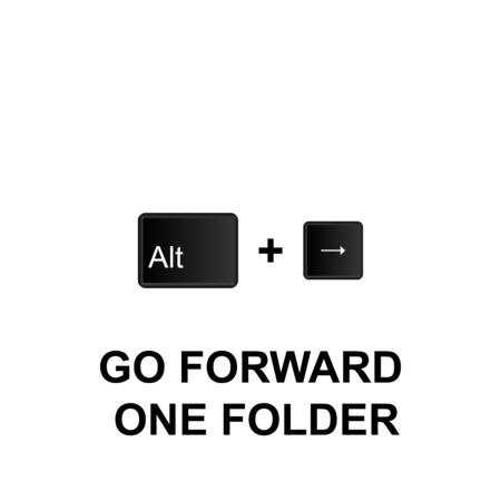 Keyboard shortcuts, go forward one folder icon. Can be used for web, mobile app, UI, UX on white background
