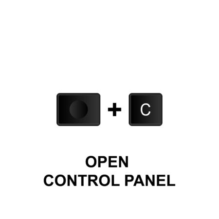 Keyboard shortcuts, open control panel icon. Can be used for web, mobile app, UI, UX on white background