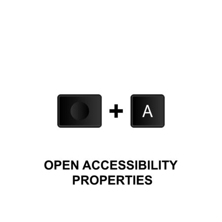 Keyboard shortcuts, open accessibility properties icon. Can be used for web,  mobile app, UI, UX on white background