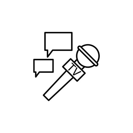 microphone and communication bubble icon. Element of journalist for mobile concept and web apps illustration. Illustration for website design and development, app development on white background