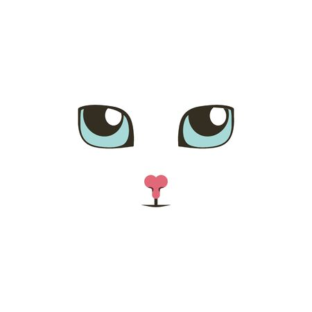 Sweet cat eyes looking up color icon. Elements of eyes multi colored icons. Premium quality graphic design icon on white background Çizim