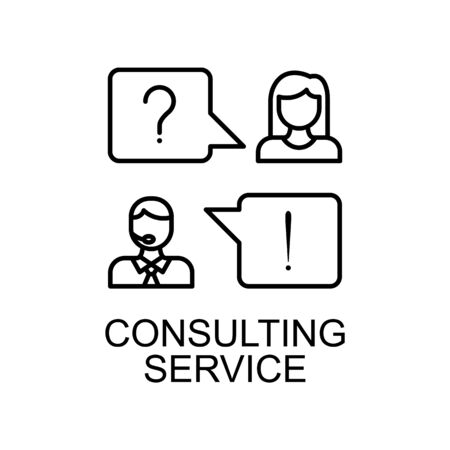 consulting service line icon. Element of human resources icon for mobile concept and web apps. Thin line consulting service icon can be used for web and mobile. Premium icon on white background