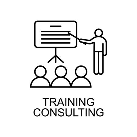 Training consulting line icon. Element of human resources icon for mobile concept and web apps. Thin line Training consulting icon can be used for web and mobile. Premium icon on white background