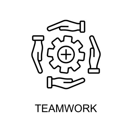 teamwork line icon. Element of human resources icon for mobile concept and web apps. Thin line teamwork icon can be used for web and mobile. Premium icon on white background Illustration