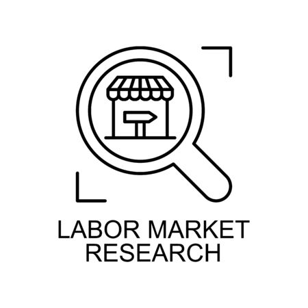labor market research line icon. Element of human resources icon for mobile concept and web apps. Thin line labor market research icon can be used for web and mobile. Premium icon on white background