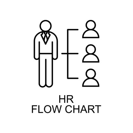 hr flow chart line icon. Element of human resources icon for mobile concept and web apps. Thin line hr flow chart icon can be used for web and mobile. Premium icon on white background