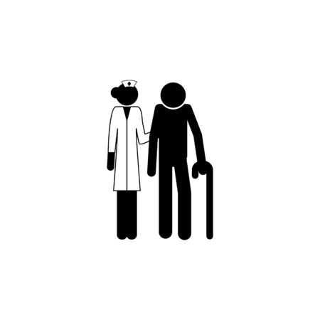 nurse with patient icon. Elements of Patients in the hospital icon. Premium quality graphic design. Signs, outline symbols collection icon for websites, web design, mobile app on white background