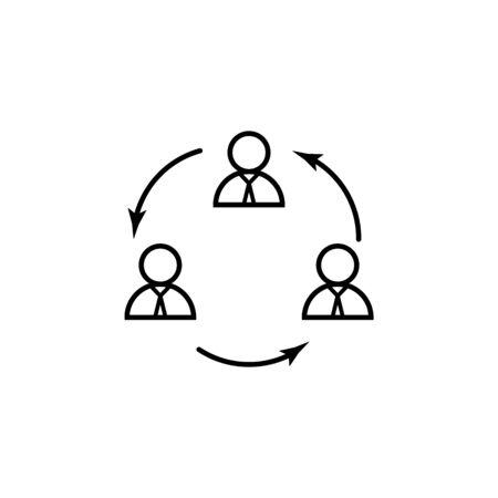 icône de ligne de rotation du personnel. Élément de l'icône de chasse à la tête pour le concept mobile et les applications Web. L'icône de rotation du personnel en ligne mince peut être utilisée pour le Web et le mobile. Icône Premium sur fond blanc