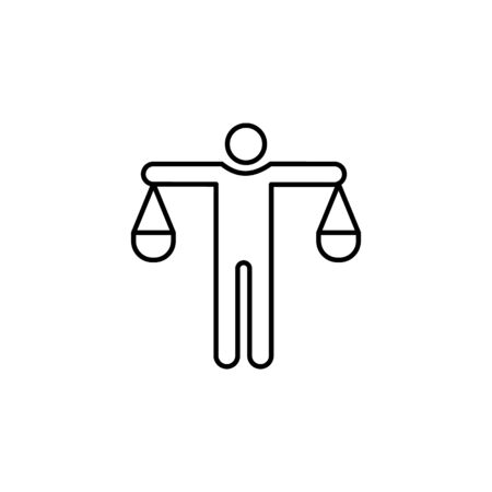 man of scales line icon. Element of head hunting icon for mobile concept and web apps. Thin line man of scales icon can be used for web and mobile. Premium icon on white background