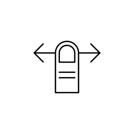 one finger horizontally swipe gesture outline icon. Signs and symbols can be used for web, logo, mobile app, UI, UX on white background 일러스트