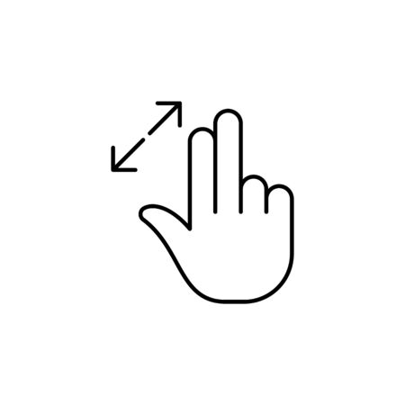 fingers resize out gesture outline icon. Signs and symbols can be used for web, logo, mobile app, UI, UX on white background 일러스트