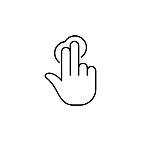 two fingers tap gesture  outline icon. Signs and symbols can be used for web, logo, mobile app, UI, UX on white background