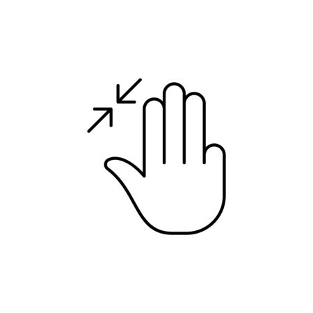 three fingers in resize gesture  outline icon. Signs and symbols can be used for web, logo, mobile app, UI, UX on white background