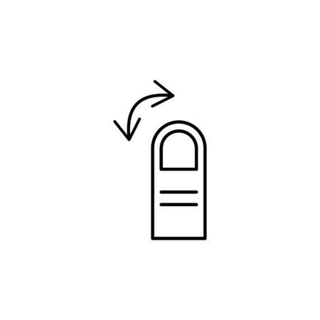 one finger rotate swipe gesture outline icon. Signs and symbols can be used for web, logo, mobile app, UI, UX on white background