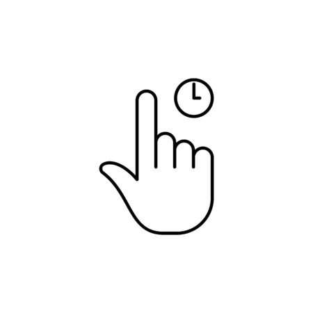 one finger holding tap gesture  outline icon. Signs and symbols can be used for web, logo, mobile app, UI, UX on white background