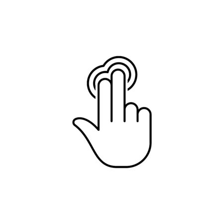 two fingers holding tap gesture outline icon. Signs and symbols can be used for web, logo, mobile app, UI, UX on white background 일러스트